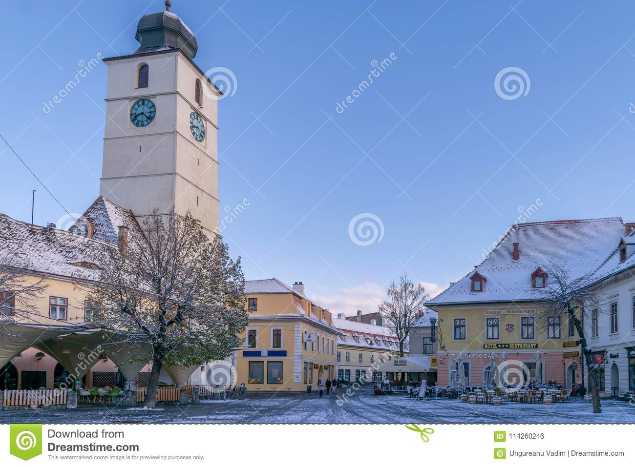 SIBIU, ROMANIA - 31 OCTOBER, 2017: View of thr Big Square and the Council tower