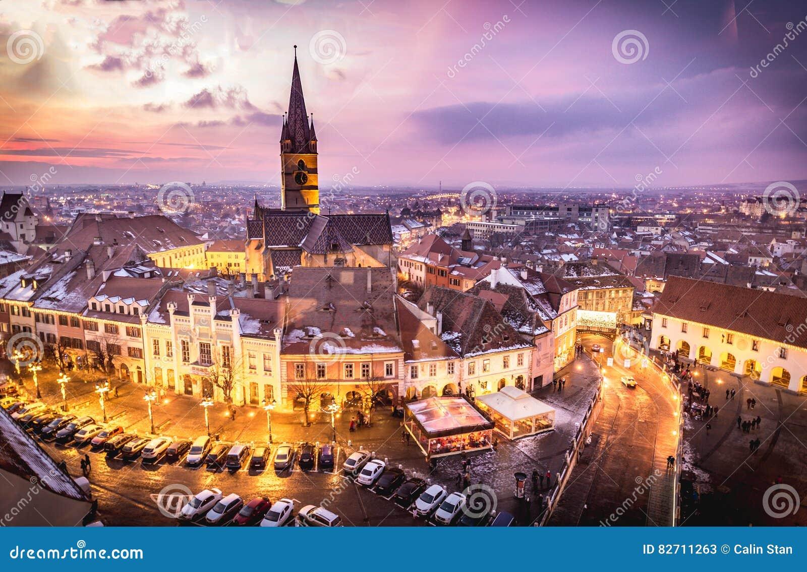 Sibiu, Transylvania, Romania central square at sunset