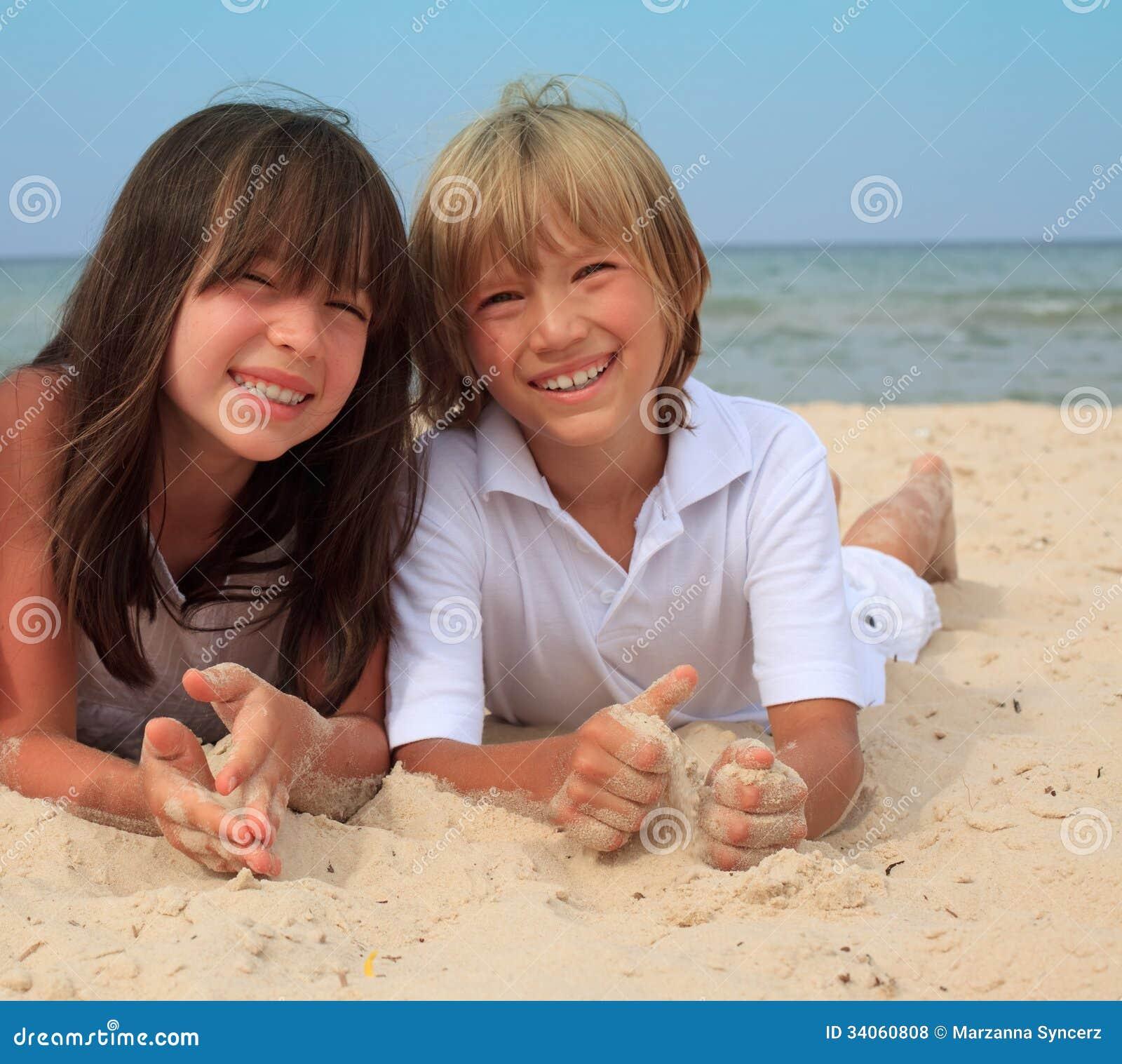 Siblings at the beach