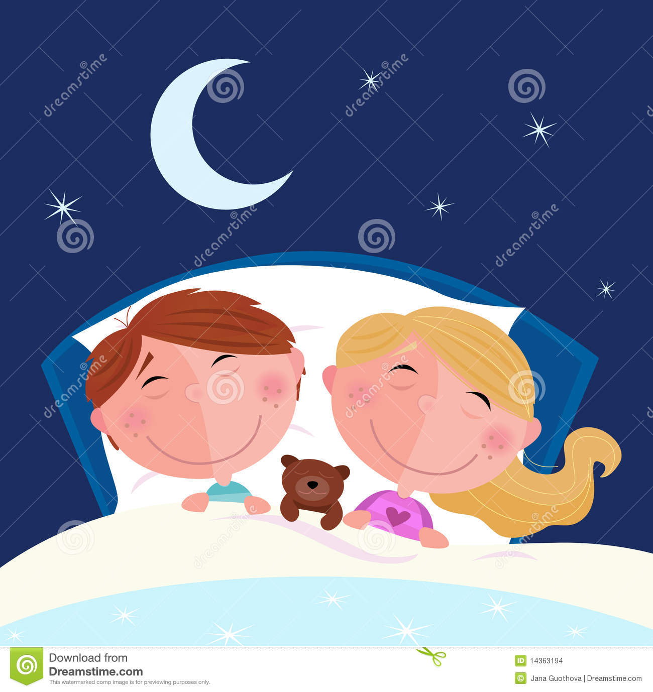 Cute children sleeping in the bed. Moon and stars on the sky behind ...