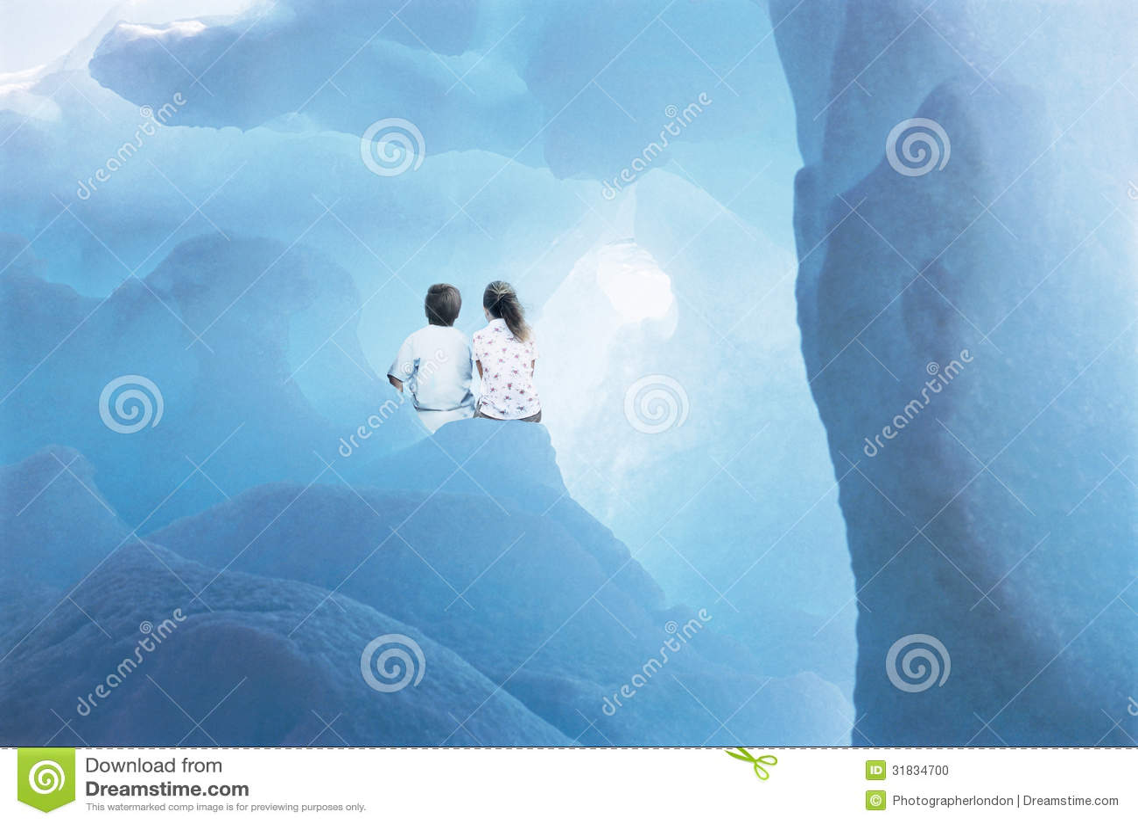 Siblings die in Gletsjer zitten