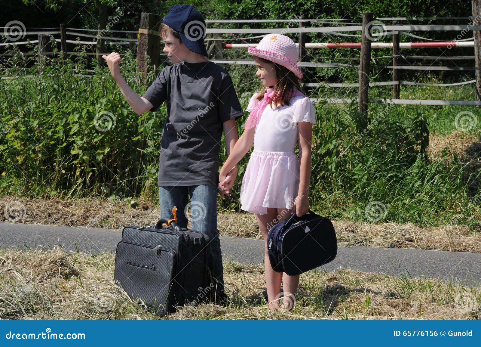 Siblings hitchhiking