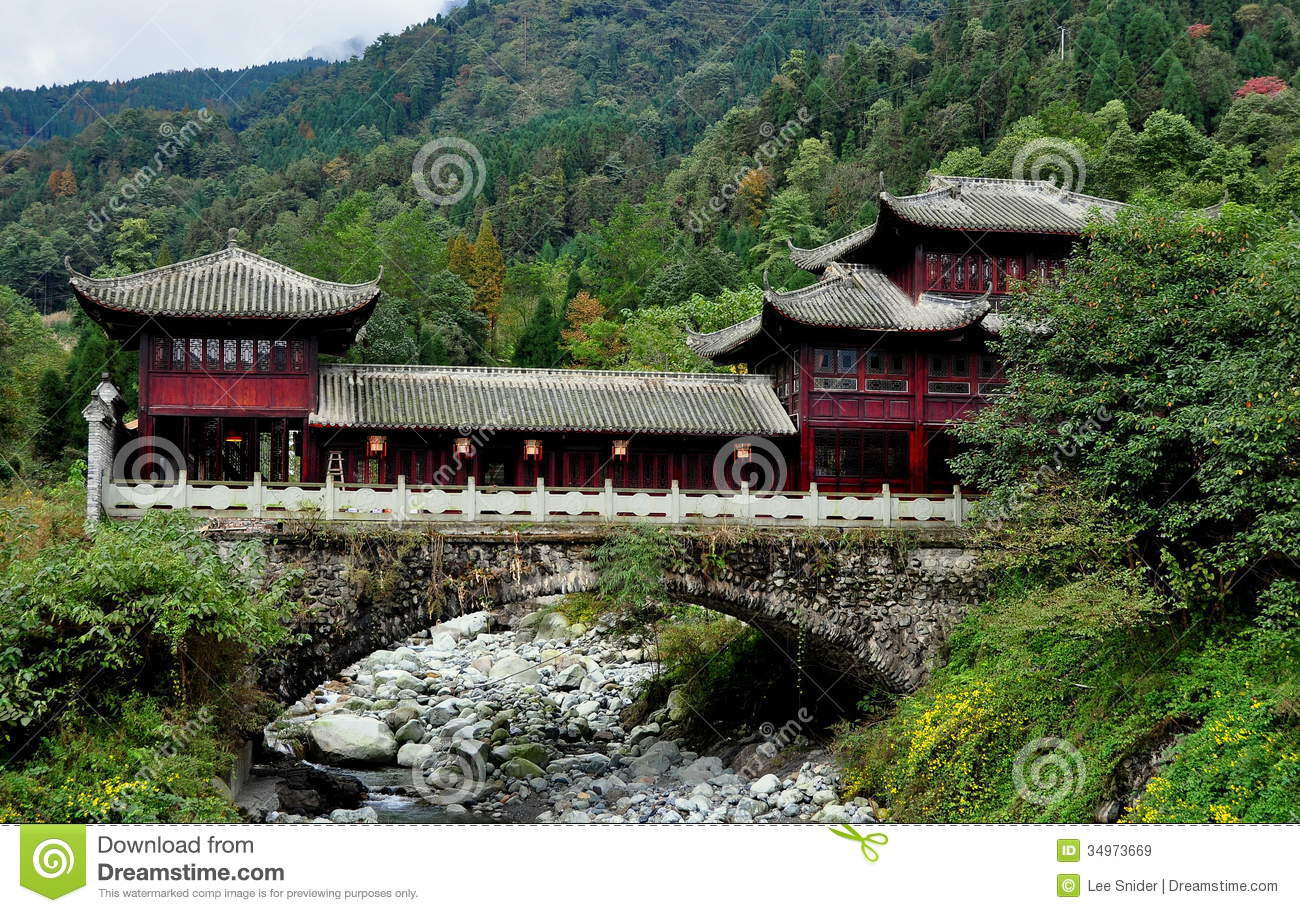 Sichuan Province China Mountainside Chinese House