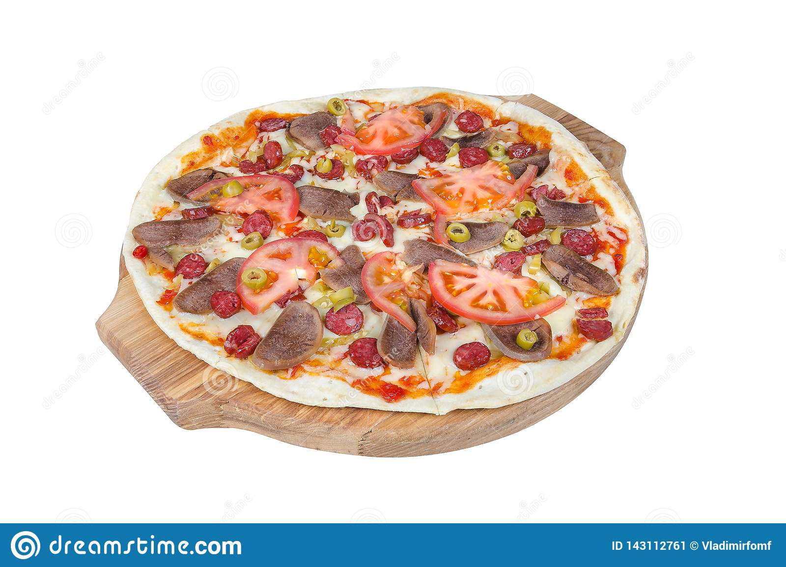 Sicilian pizza on a round cutting board isolated on white background