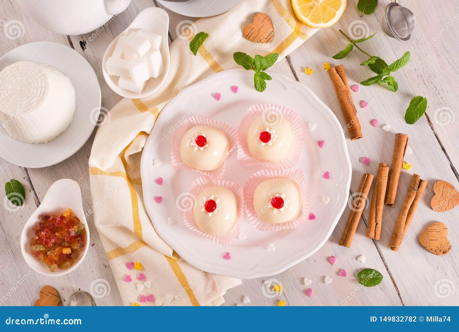 Sicilian ricotta cake Cassata.