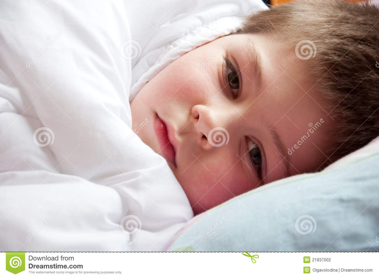 sick boy lying in bed stock photography image 21837002. Black Bedroom Furniture Sets. Home Design Ideas