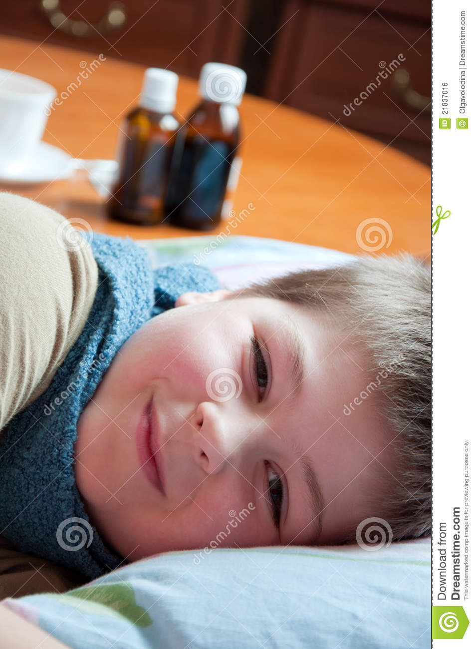 Cute girl seven years old lying on bed stock image for Boys and girls in bed