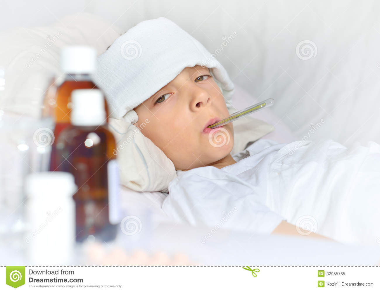 sick boy lying in bed stock image image of fever poultice 32955765. Black Bedroom Furniture Sets. Home Design Ideas