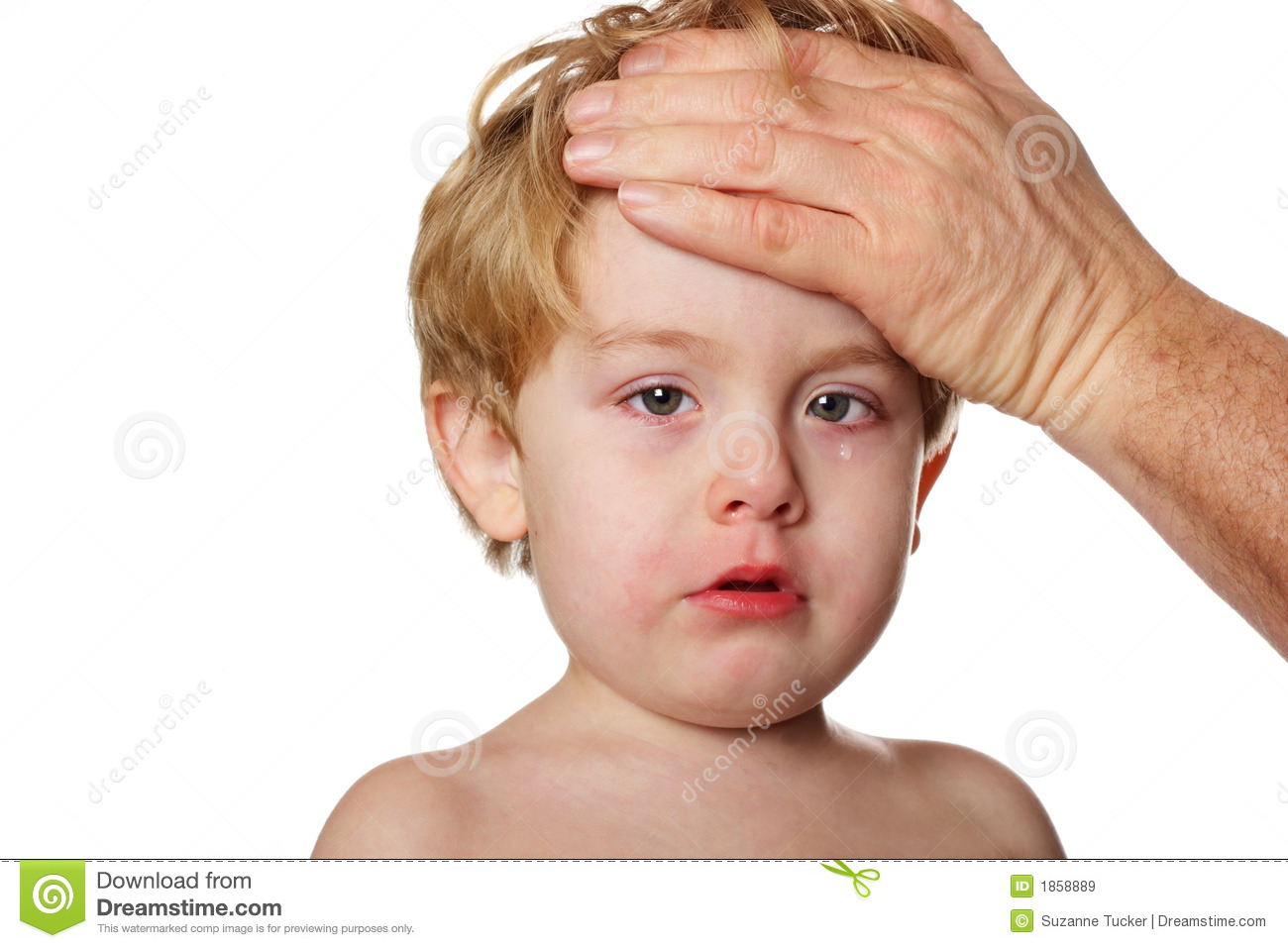 child with teary eyes ...