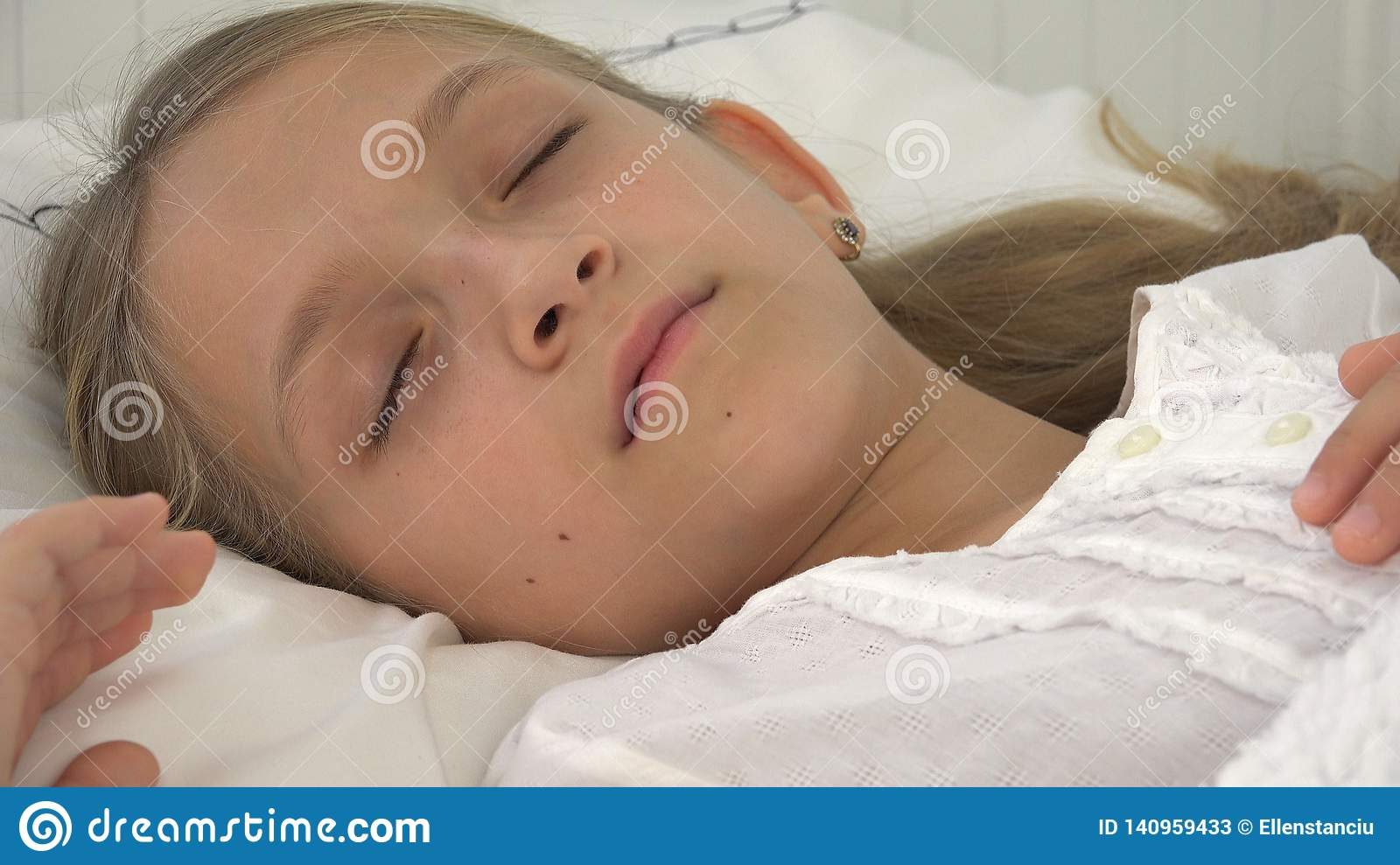 Sick Child in Bed, Ill Kid with Thermometer, Girl in Hospital, Pills Medicine