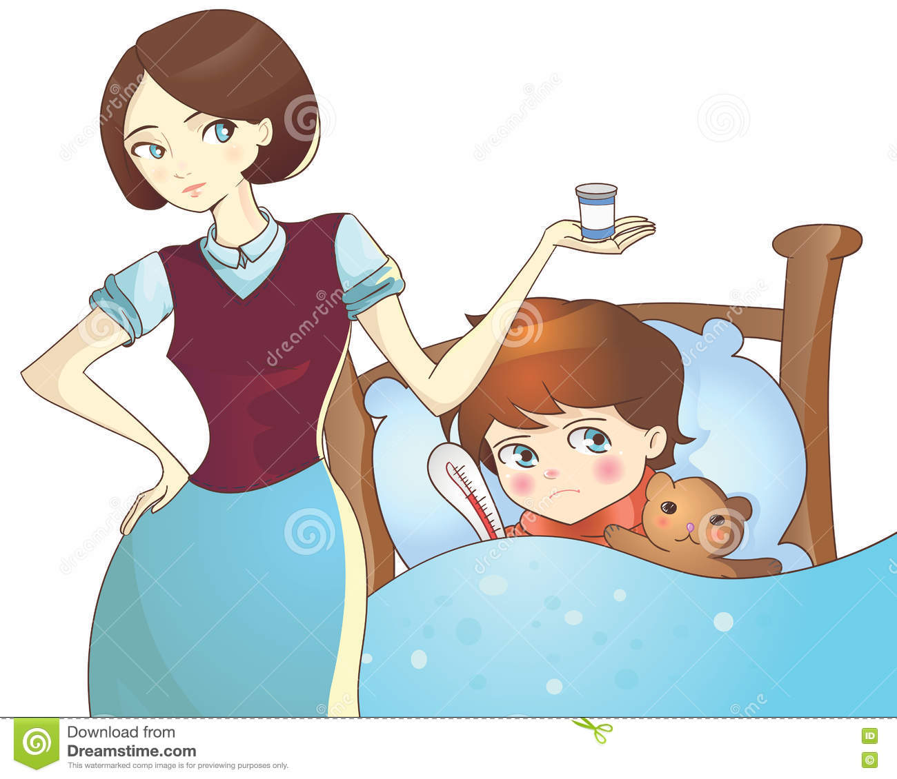 Sick child lying in bed and mother with medicine stock vector download sick child lying in bed and mother with medicine stock vector illustration of mother thecheapjerseys Choice Image