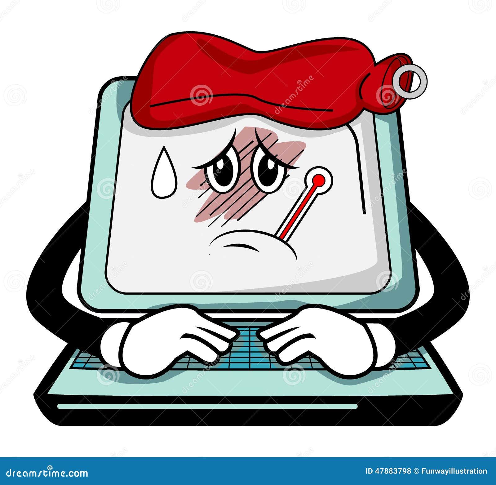 sick computer cartoon stock vector image 47883798 Transparent Computer Virus Computer Virus Funny