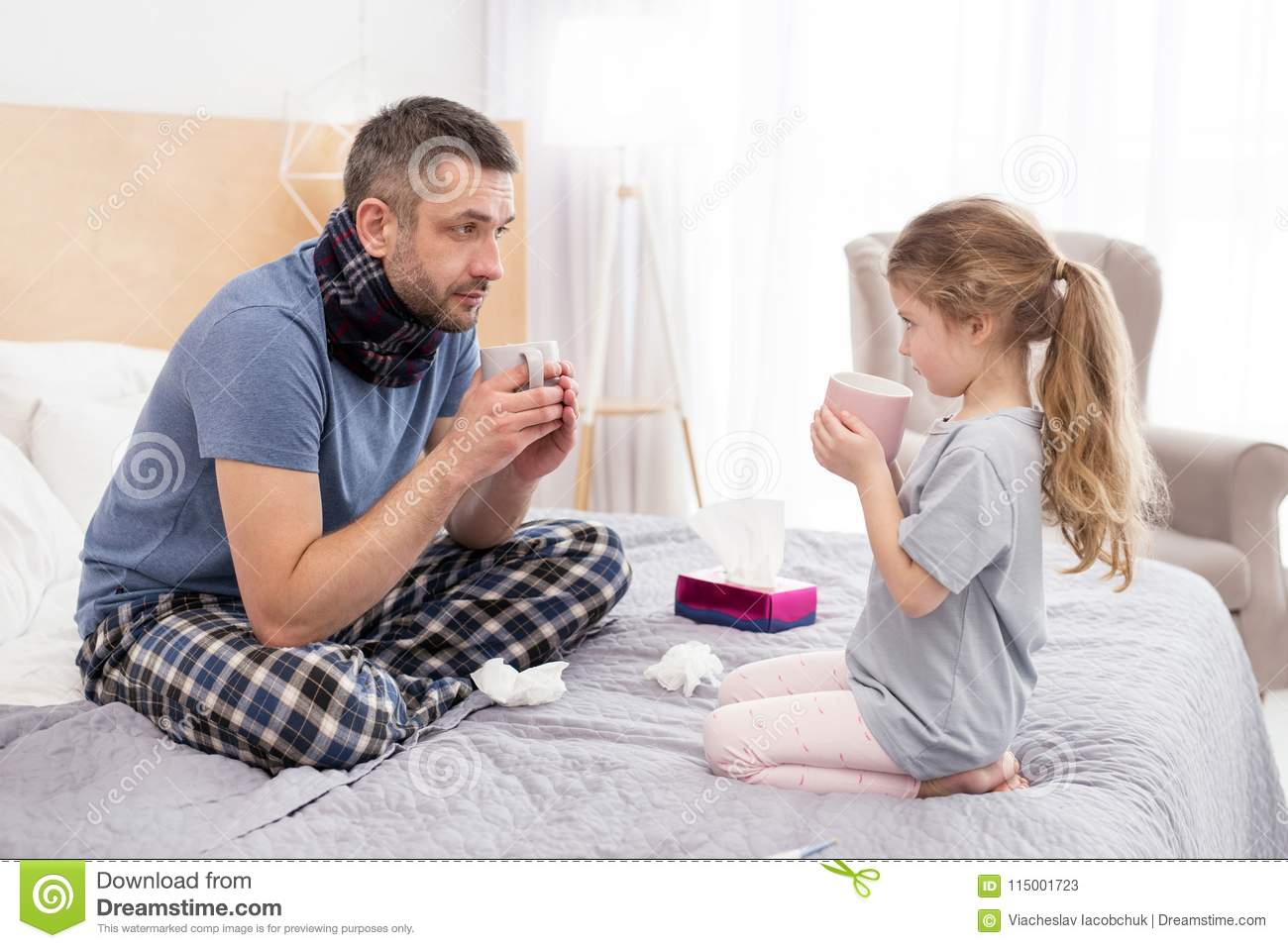 Sick Daddy And His Daughter Drinking Hot Tea Stock Image Image Of