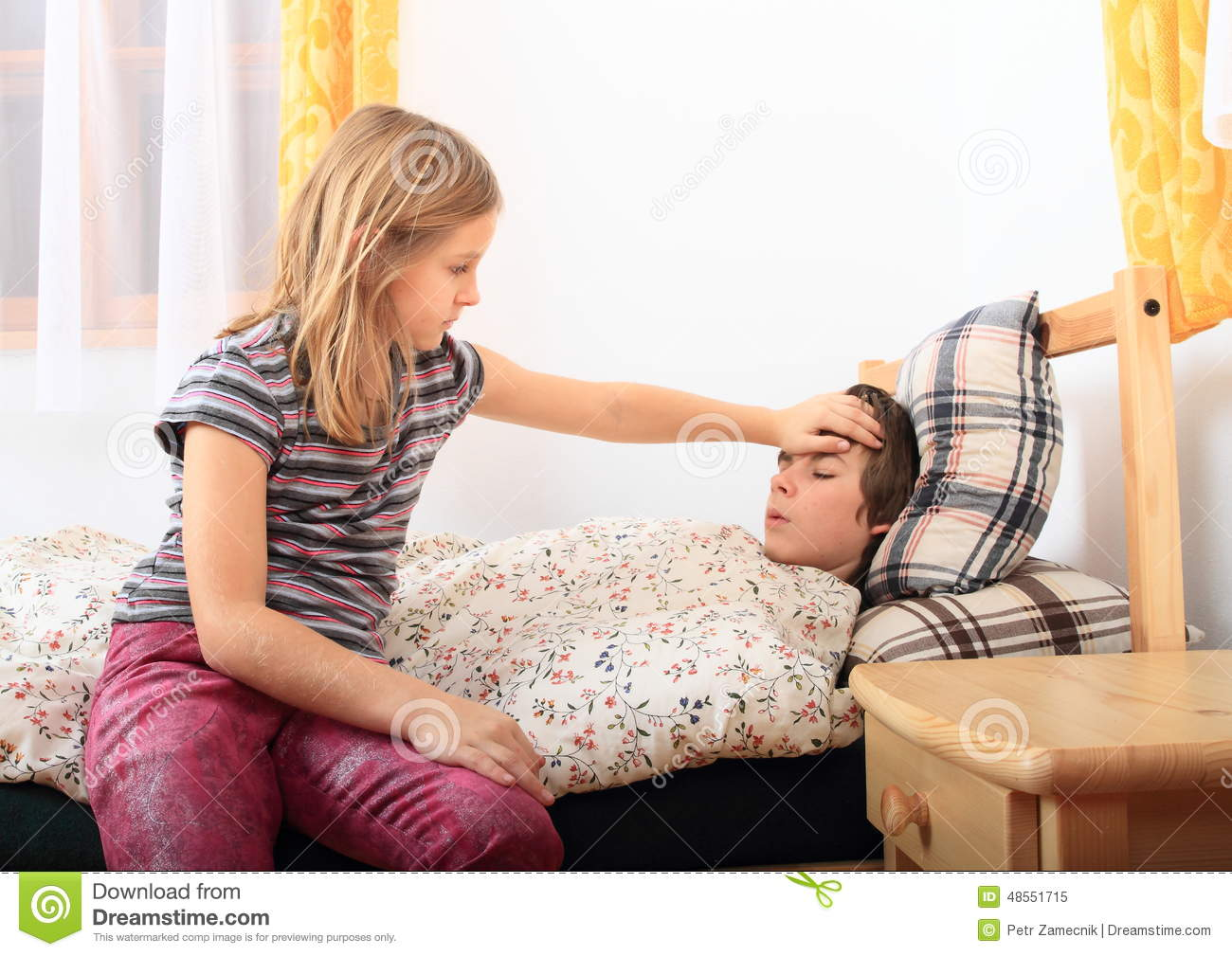 Sick Girl With Her Brother Stock Photo Image 48551715