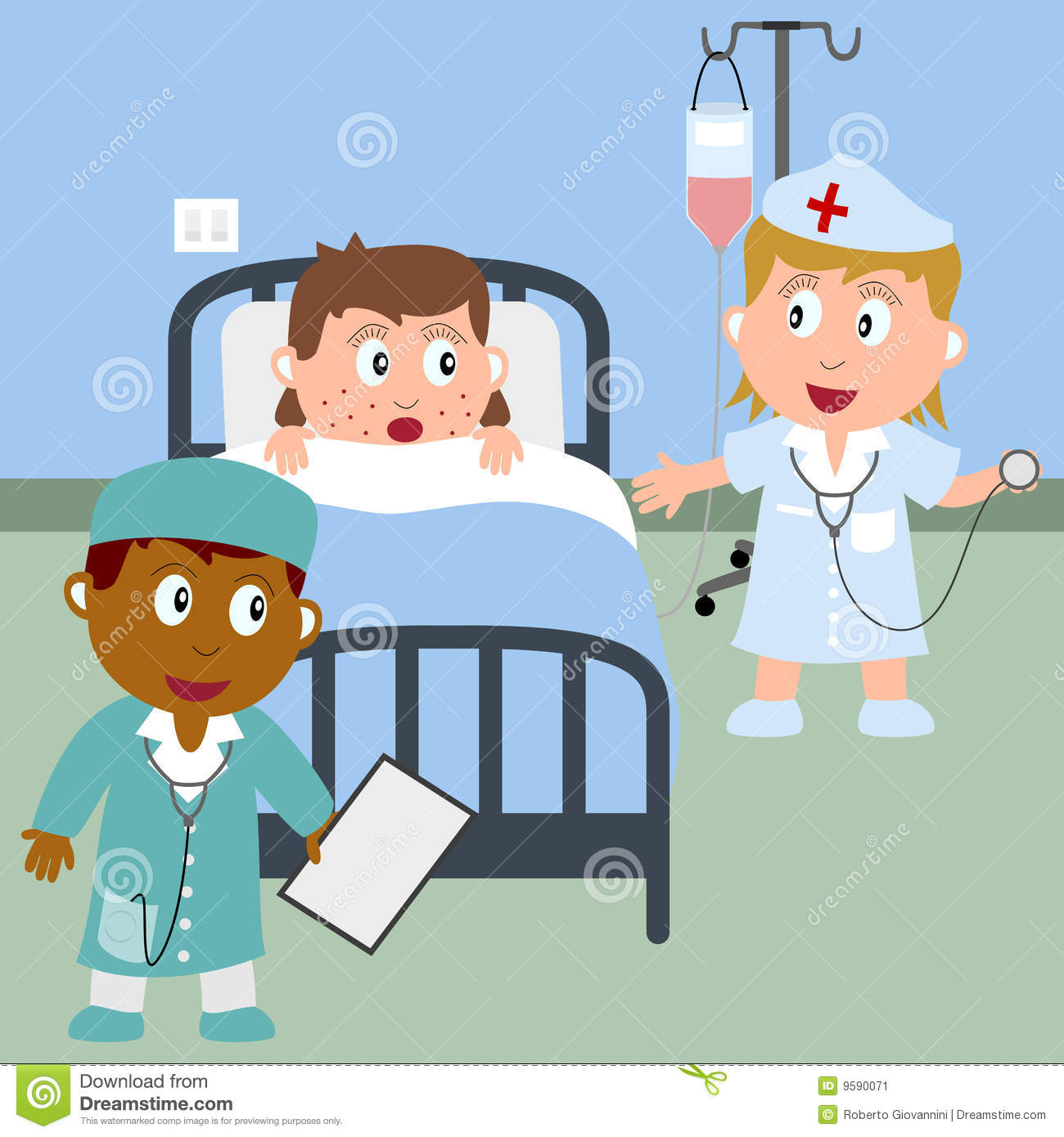 Sick Girl In A Hospital Bed Stock Vector Illustration Of Clinic