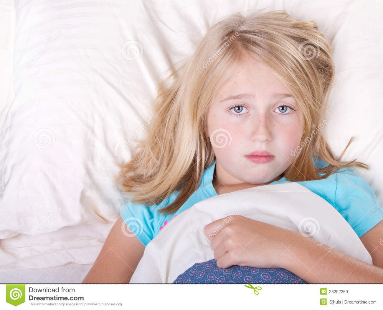 sick girl laying in bed stock photo image of fever little 26292260. Black Bedroom Furniture Sets. Home Design Ideas