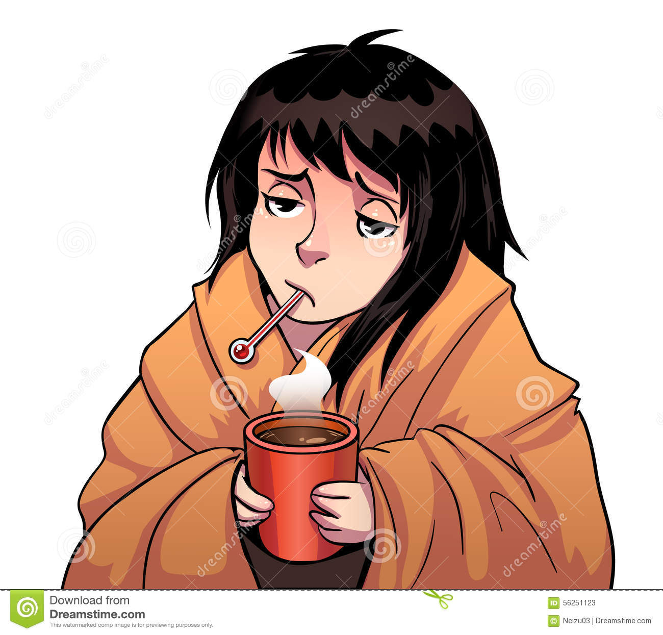 Sick Girl With Thermometer And Hot Cup Stock Illustration - Image ...: http://www.dreamstime.com/stock-illustration-sick-girl-thermometer-hot-cup-vector-cartoon-white-image56251123