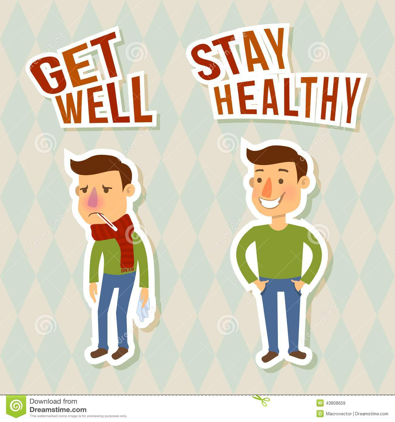 Sick and healthy man sticker characters isolated vector illustration.