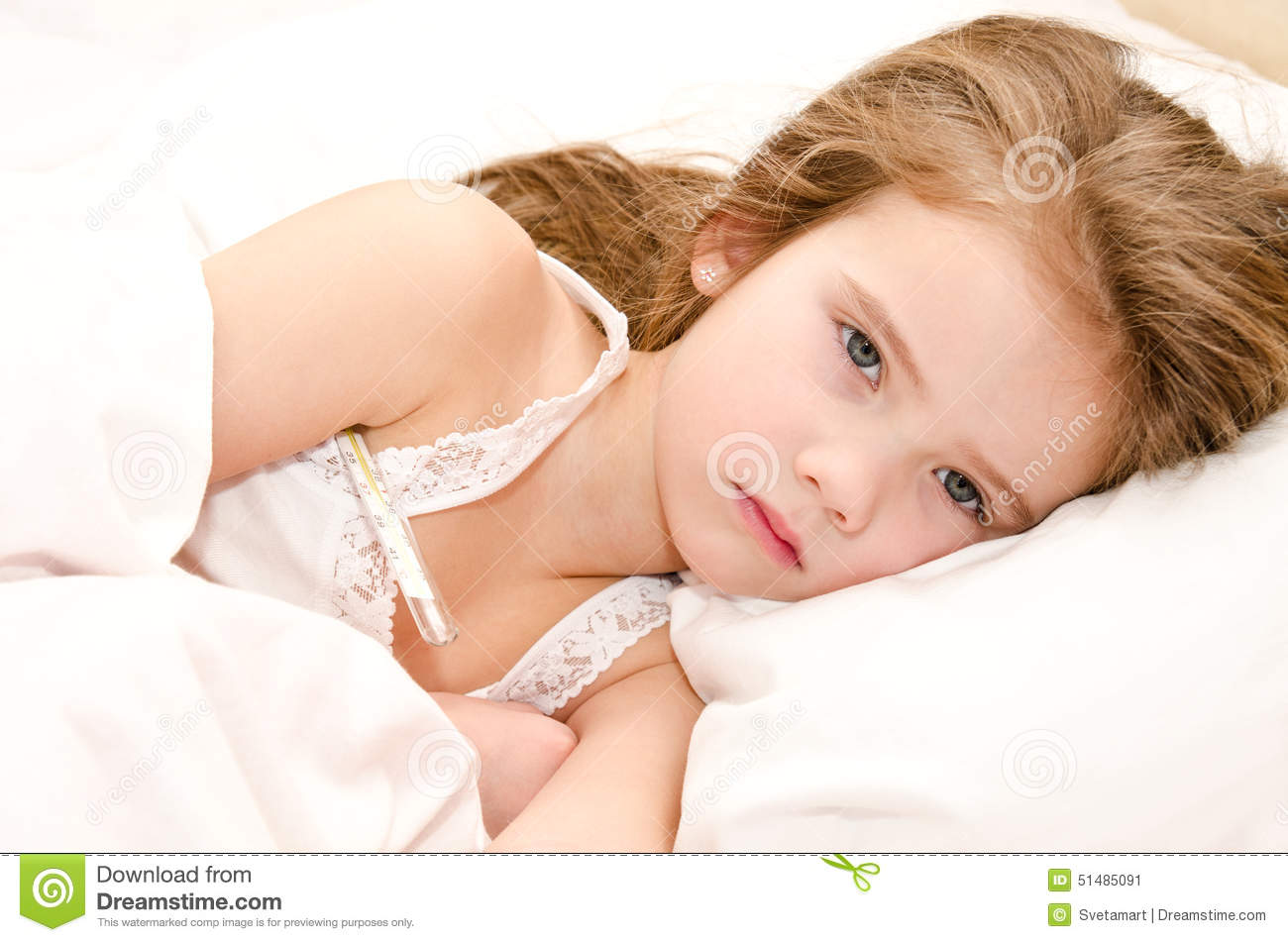 Girl Sick In Bed Coughing