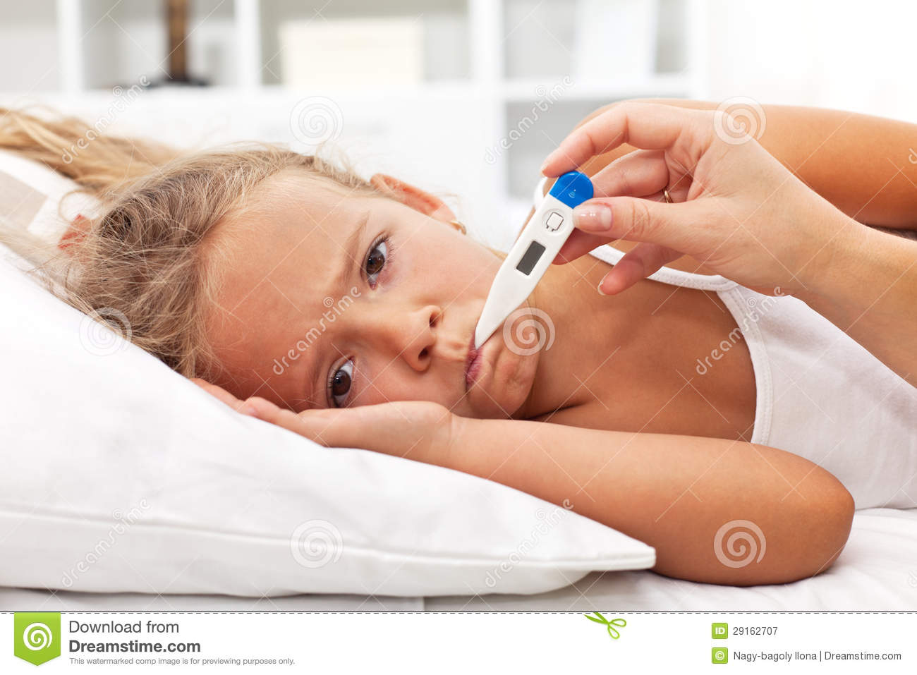 sick little girl with thermometer laying in bed stock image image 29162707. Black Bedroom Furniture Sets. Home Design Ideas