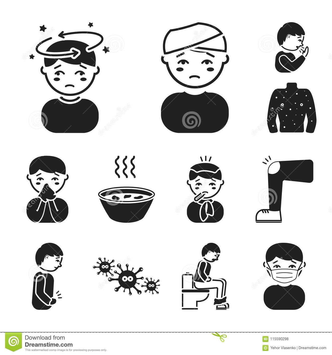 The Sick Man Black Icons In Set Collection For Design Illness And