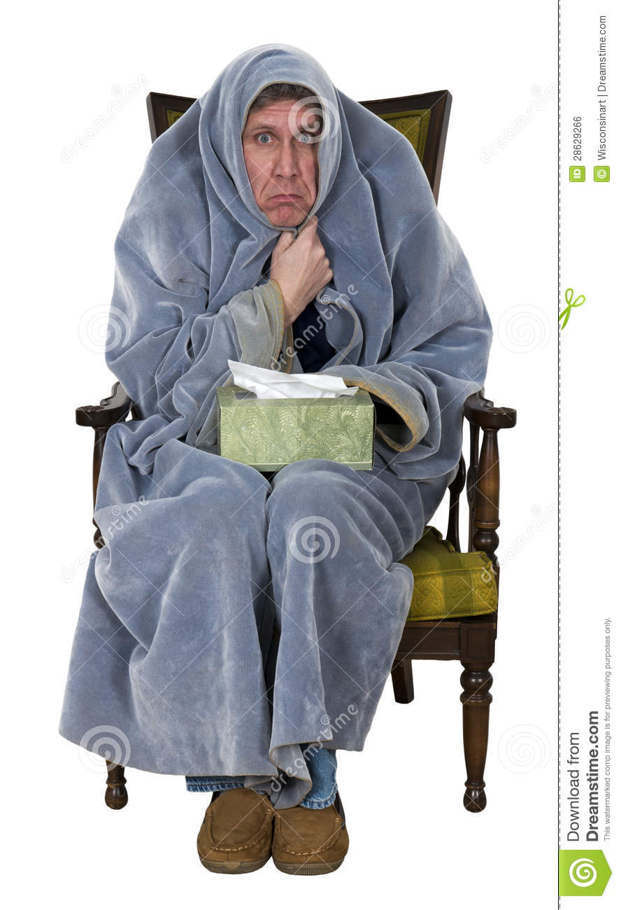 Sick Man With Cough Cold Flu Isolated Stock Photo