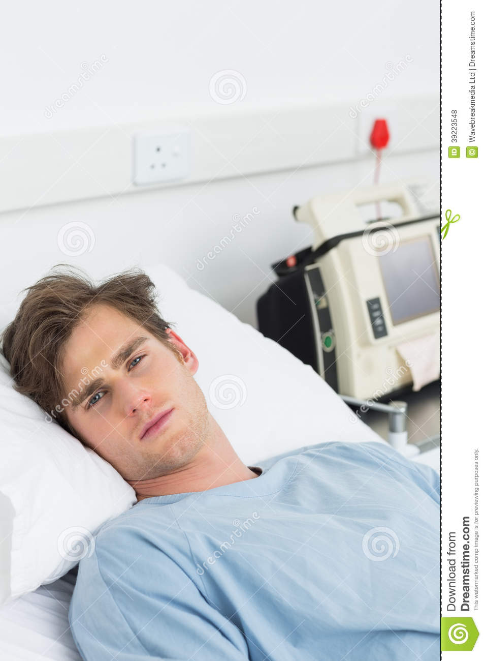 Images Of Sick Old Me In Hospital Bed : Portrait of young male sick man lying in hospital bed.