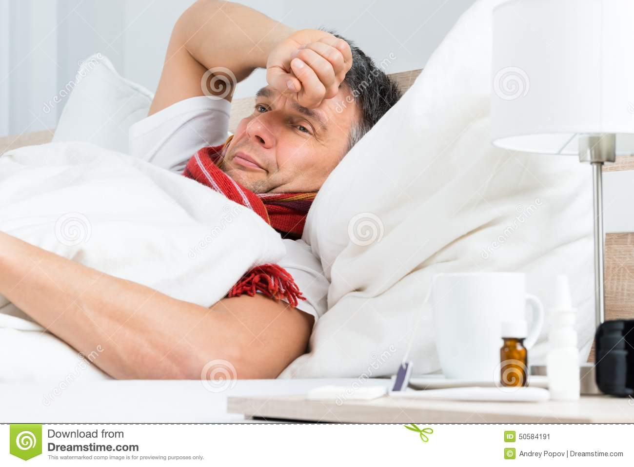Sick Mature Man On Bed Stock Image Image Of Individual - 50584191-6637