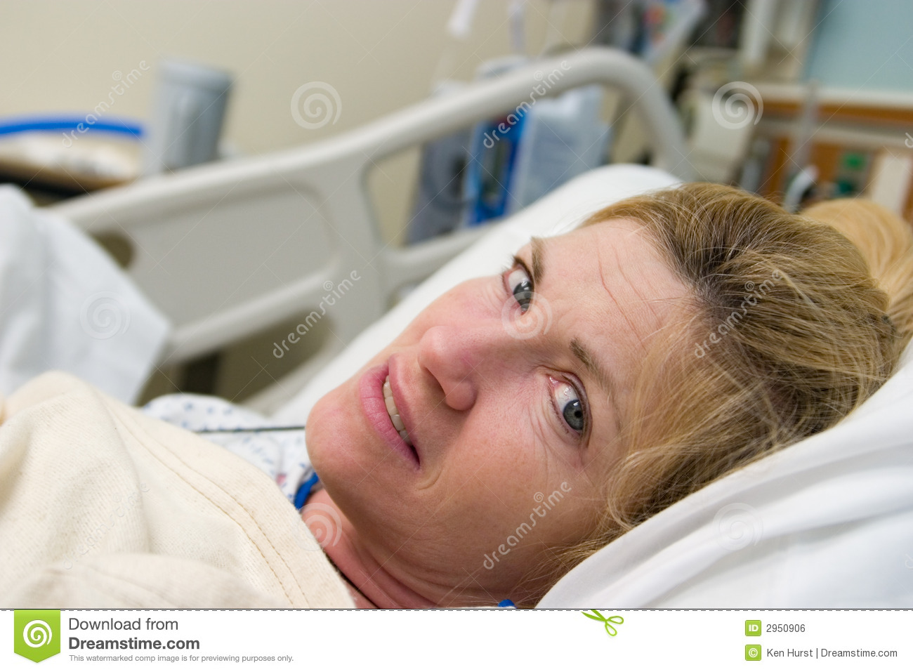 Closeup of Patient in hospital bed after surgery. Horizontal landscape ...