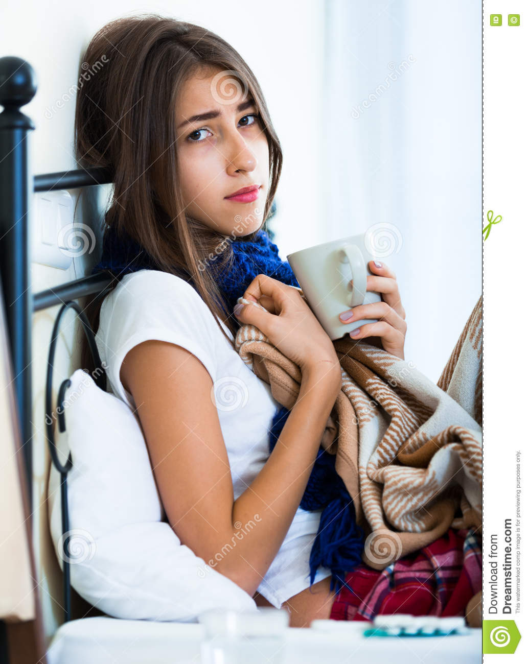 Download Sick Teenage Girl With Hot Tea And Medication Indoors Stock Photo Image Of Pills