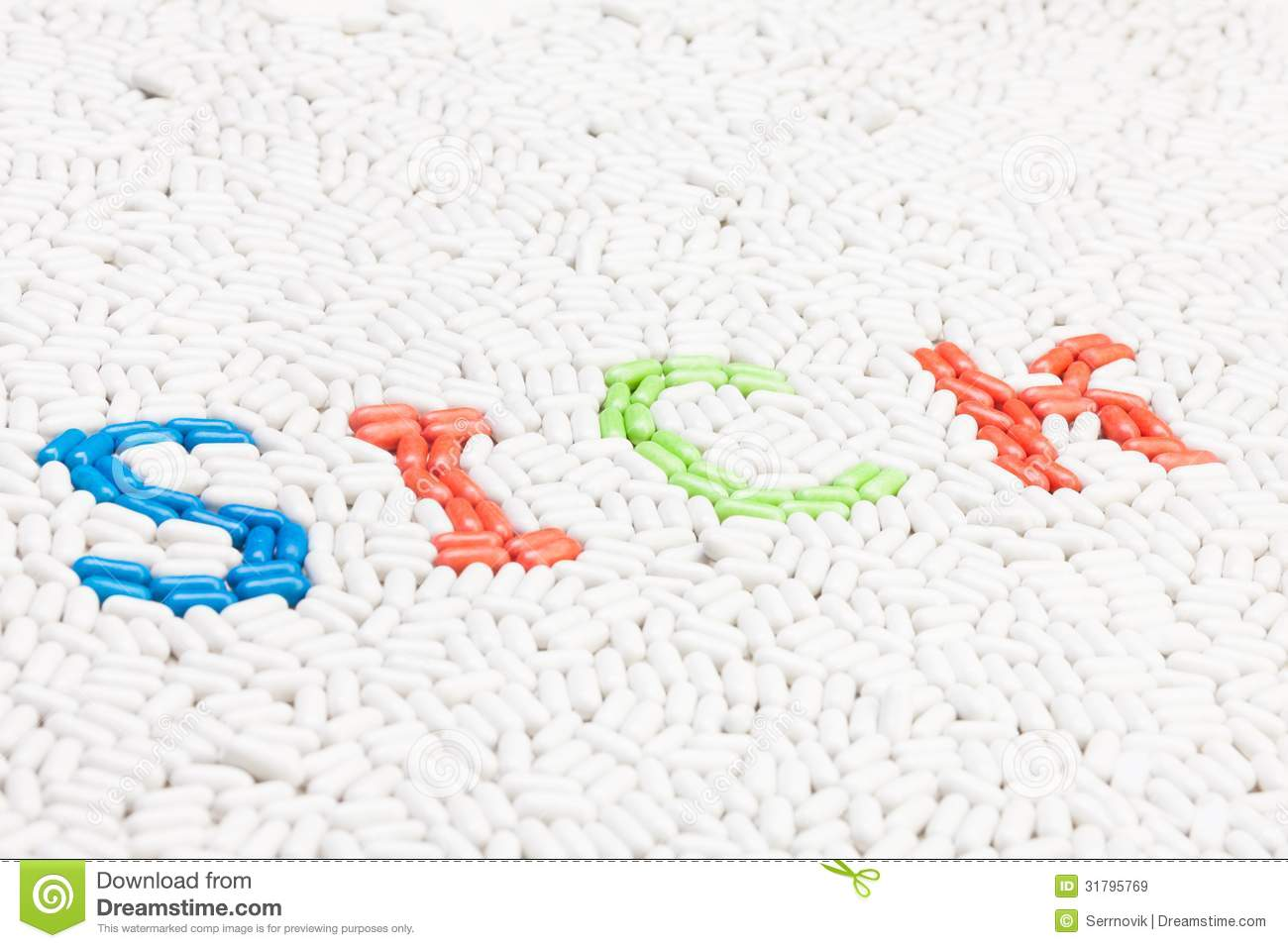sick text word made of pills royalty free stock images