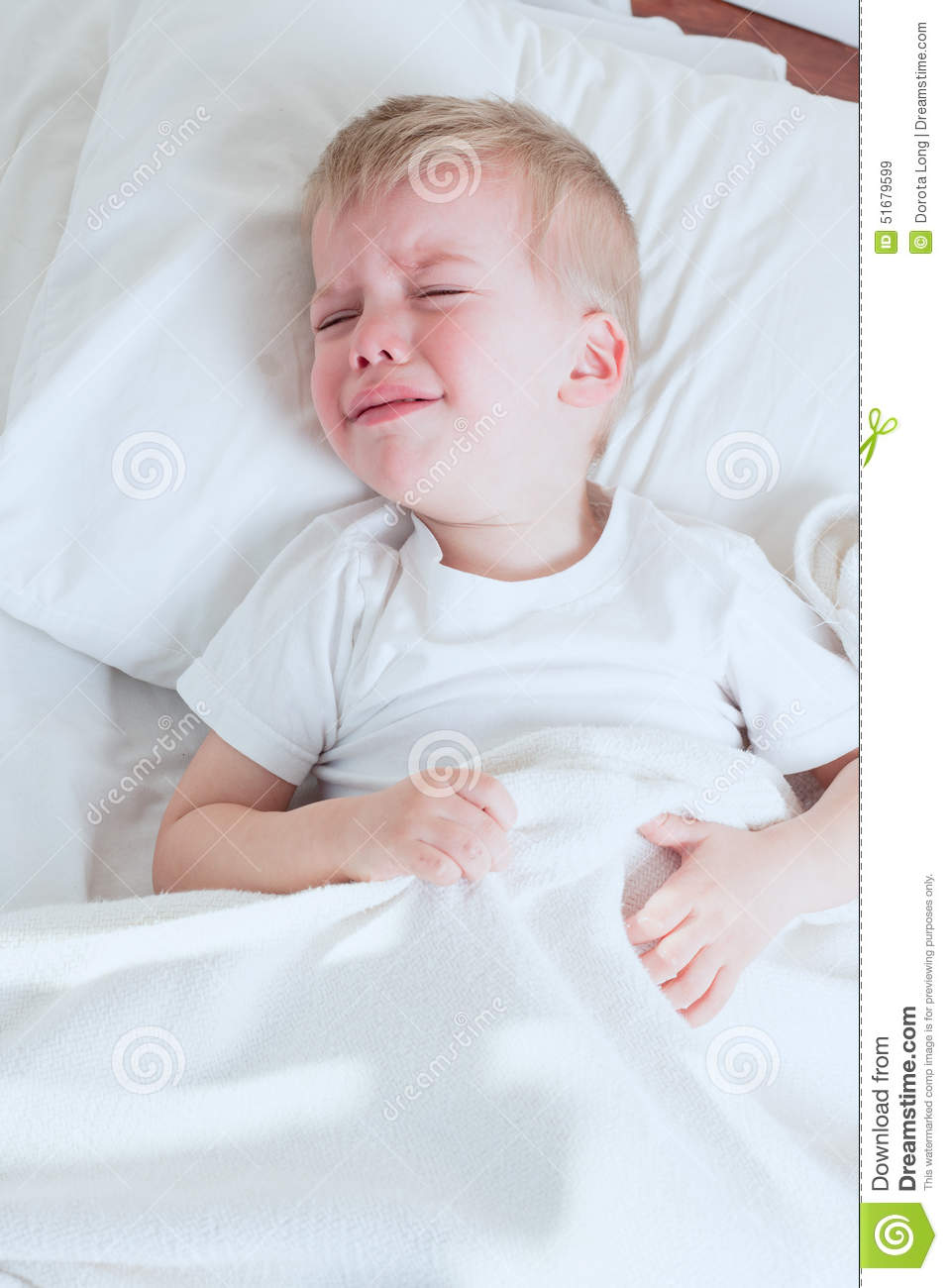 Sick Toddler Boy Crying In Bed