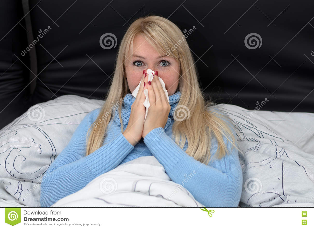 Sick Woman Blowing Her Nose In Bed Stock Photo Image Of