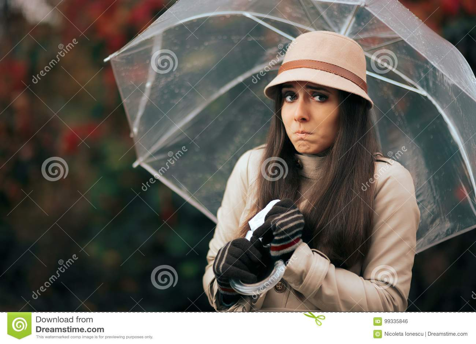 sick-woman-holding-umbrella-autumn-rain-
