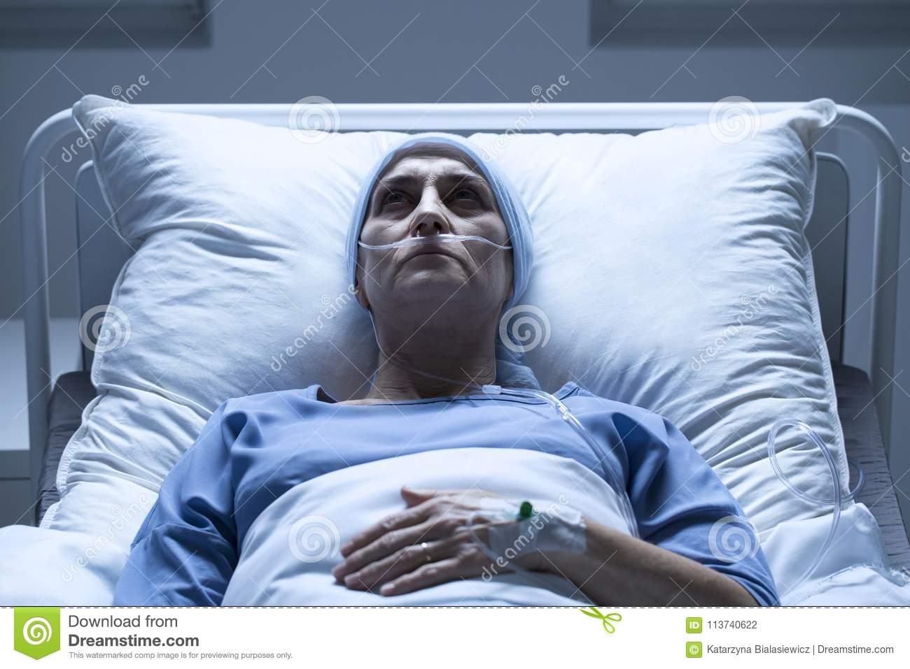 Sick Woman In Hospital Bed Stock Photo. Image Of Drip