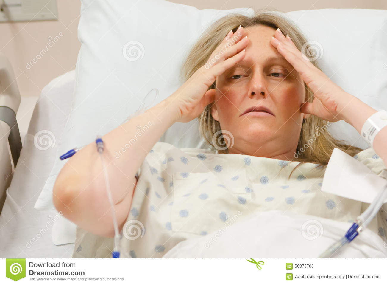 sick woman in hospital stock photo image 56375706