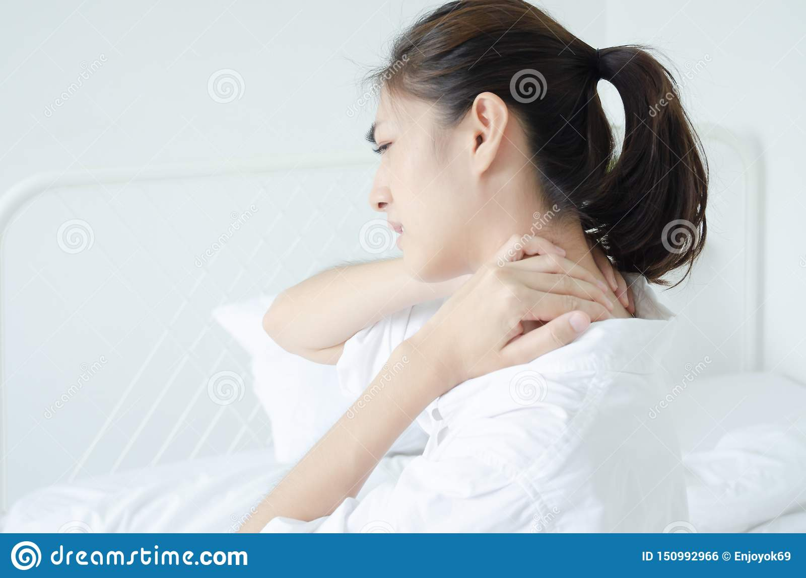 Sick woman with pain