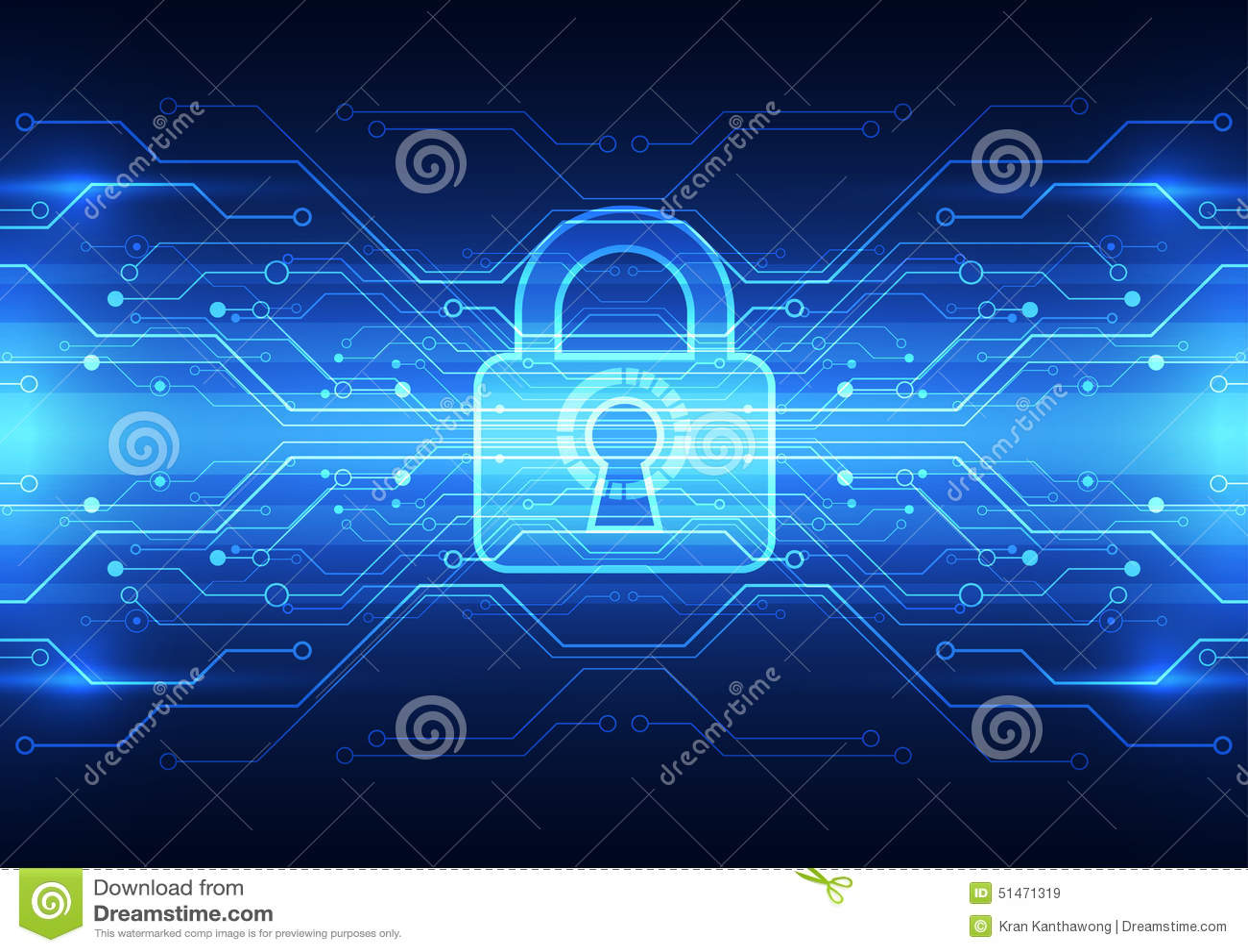 Sicurezza astratta di tecnologia sul fondo della rete globale, illustrazione di vettore