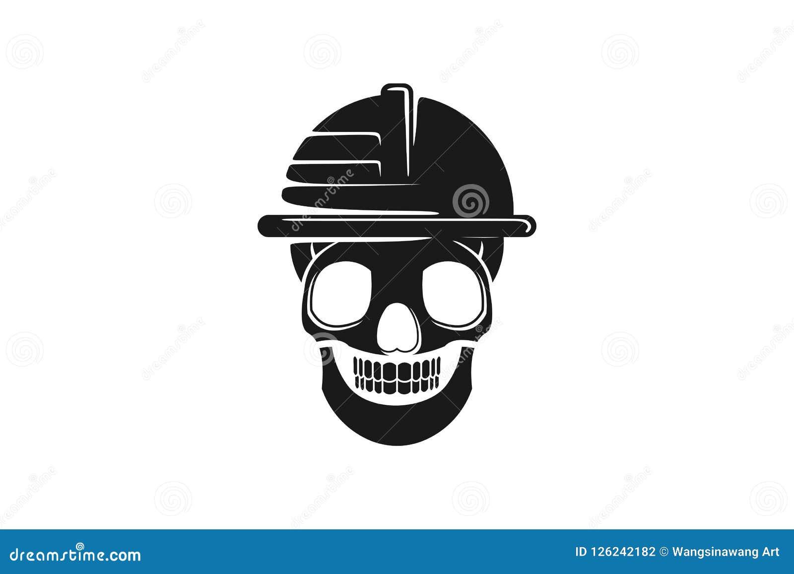 Sicurezza del casco del cranio da ispirazione di progettazione di logo del pericolo