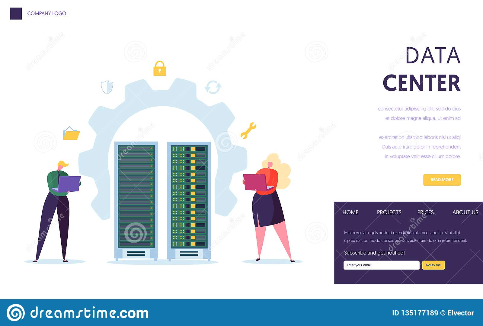 Sida för landning för Data Center serverpersonal Affärsteckenservice Datacenter med att vara värd för bärbar datordatordatabas