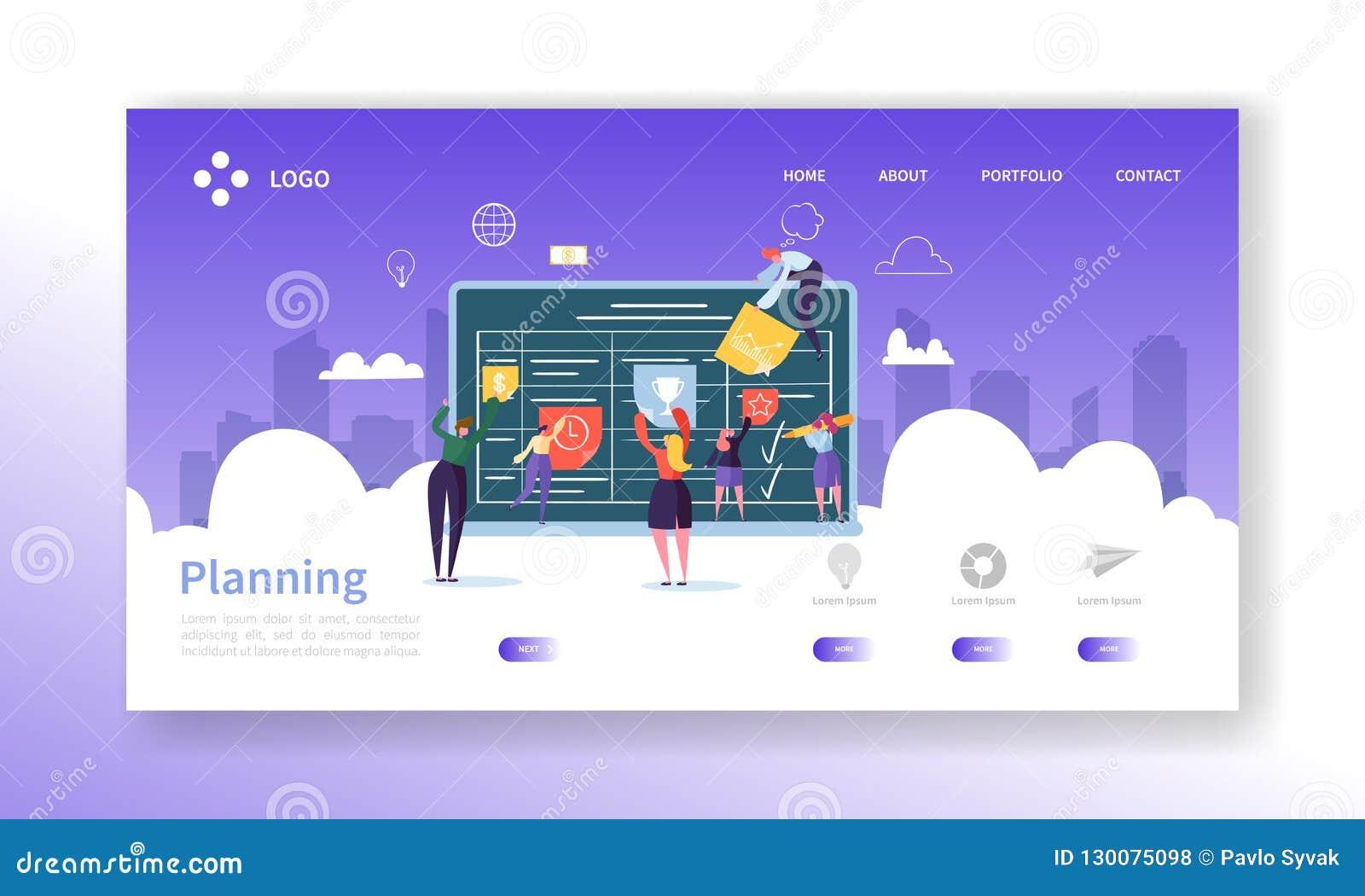 Sida för landning för Workflowledningbegrepp Tecken för affärsfolk som tillsammans planerar mallen för Website för arbetsprocess
