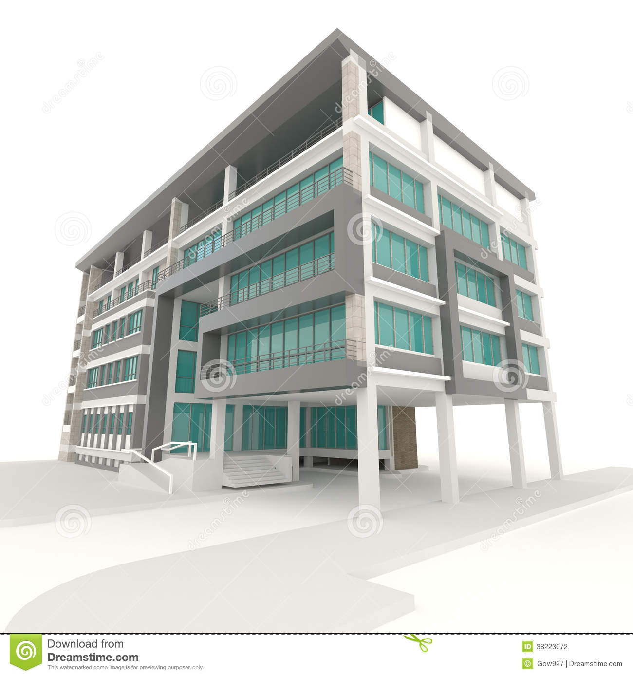 Side of 3d condominium exterior design in white background for Building design outside