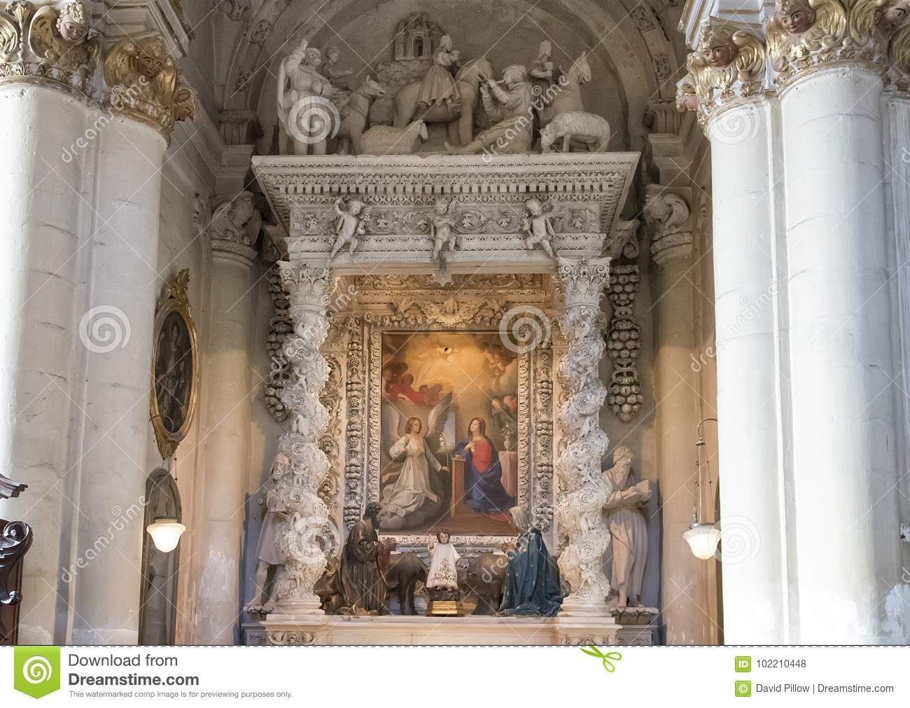 Side Altar of the Duomo Cathedral in Lecce, with a picture of the assumption