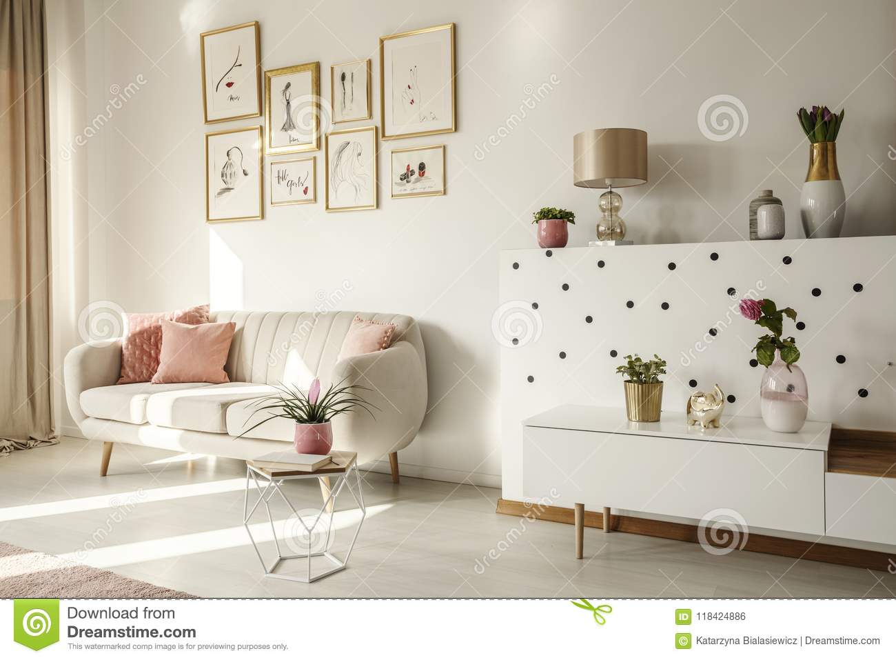 Magnificent Side Angle Of A Living Room Interior With White Sofa Coffee Beatyapartments Chair Design Images Beatyapartmentscom
