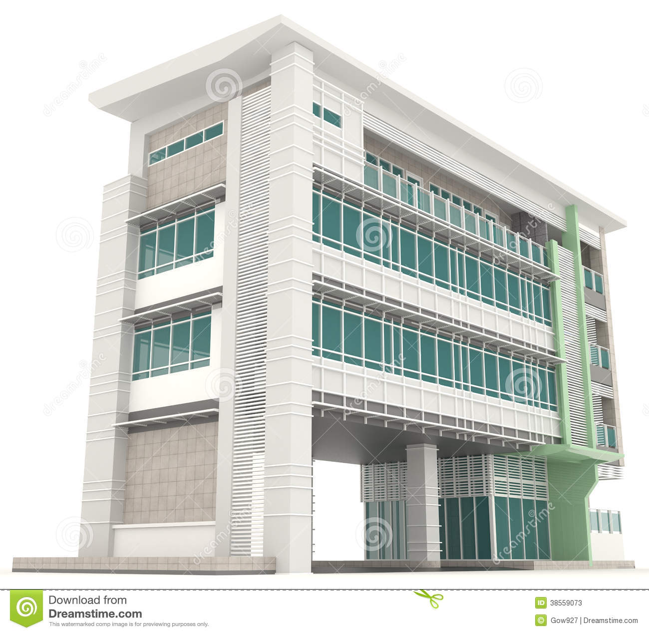 Side of 3d modern office building architecture exterior for 3d building creator