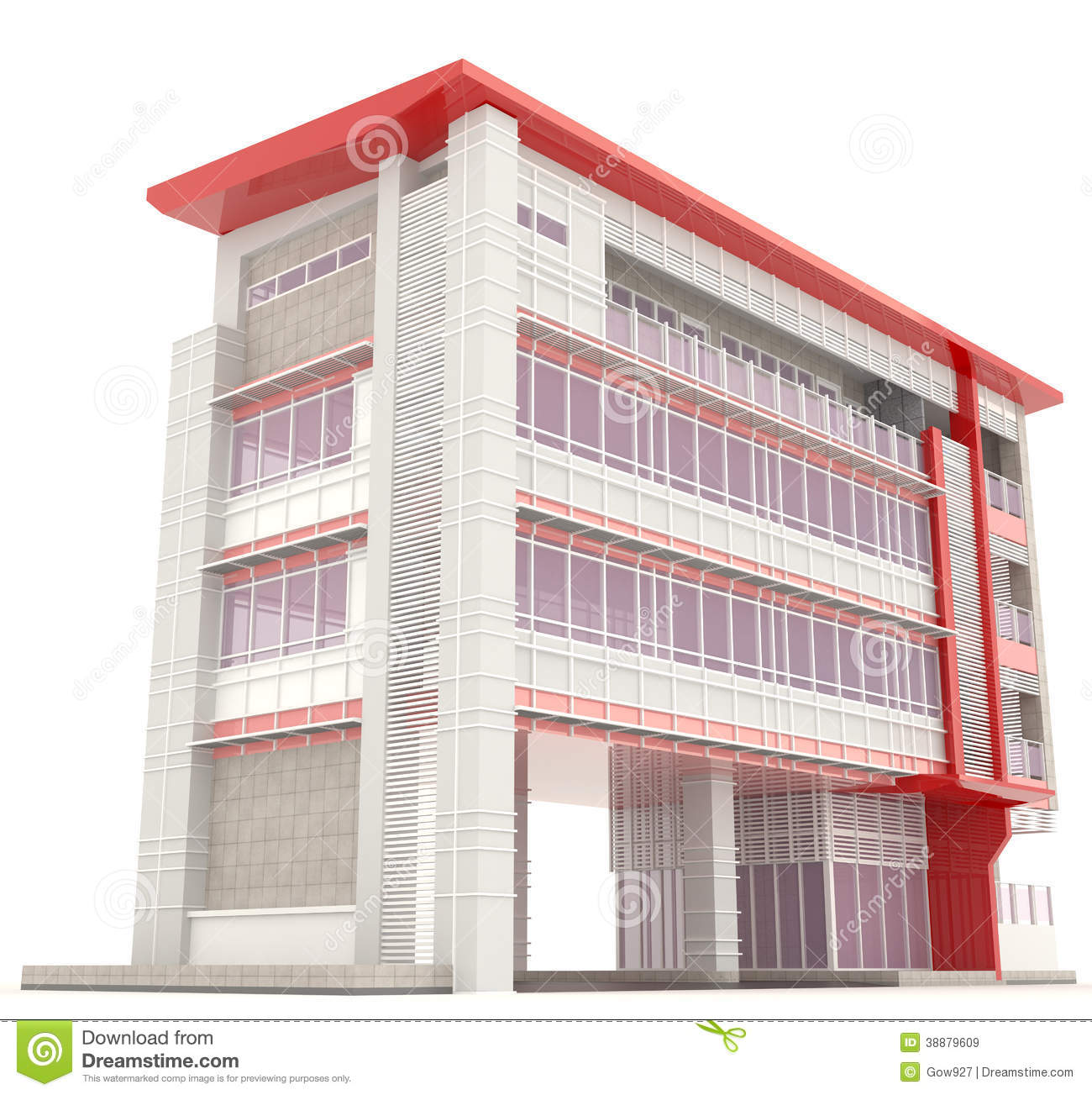 Side of 3d modern office building exterior stock for 3d building creator