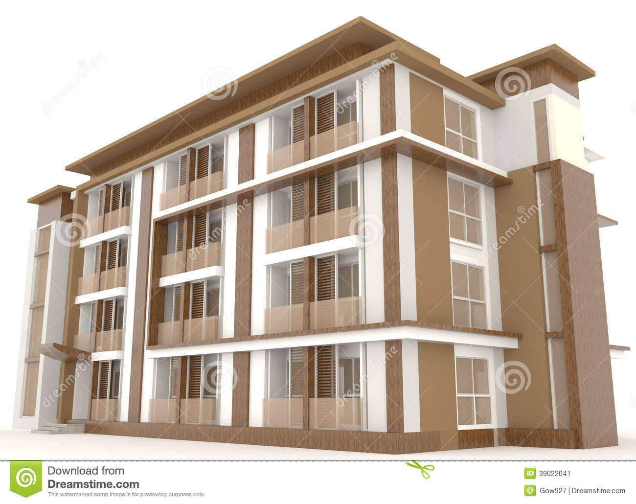 side of 3d wooden office building exterior isolate stock