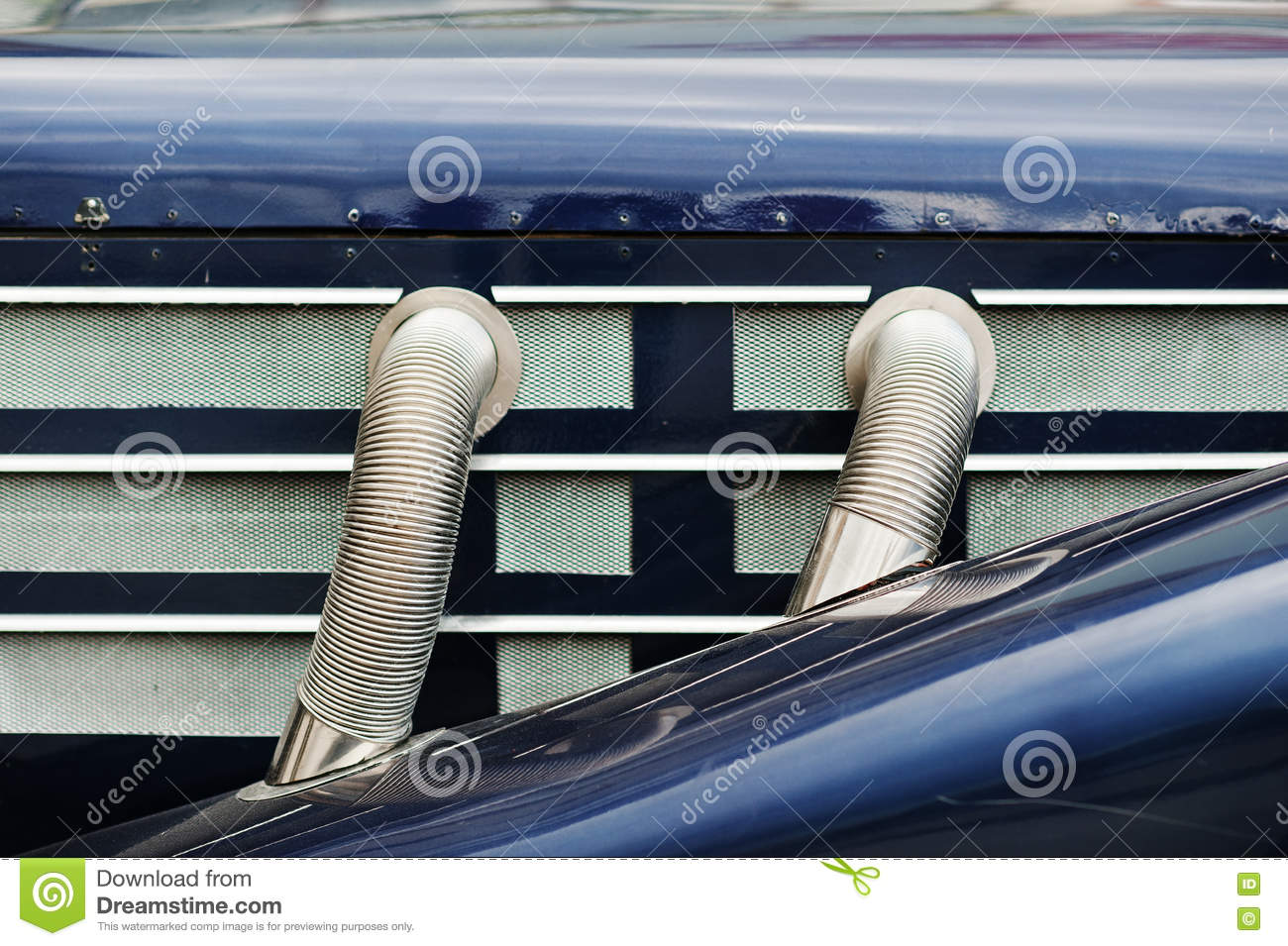 Side Exhaust Pipes On Old Classic Car Stock Photo Image Of Pipe