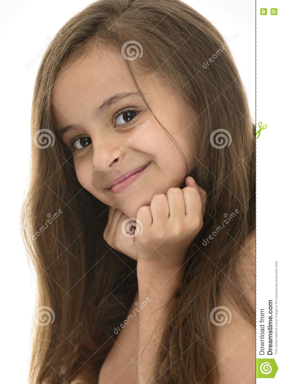 Side Face Portrait Of Attractive Young Girl With Beautiful