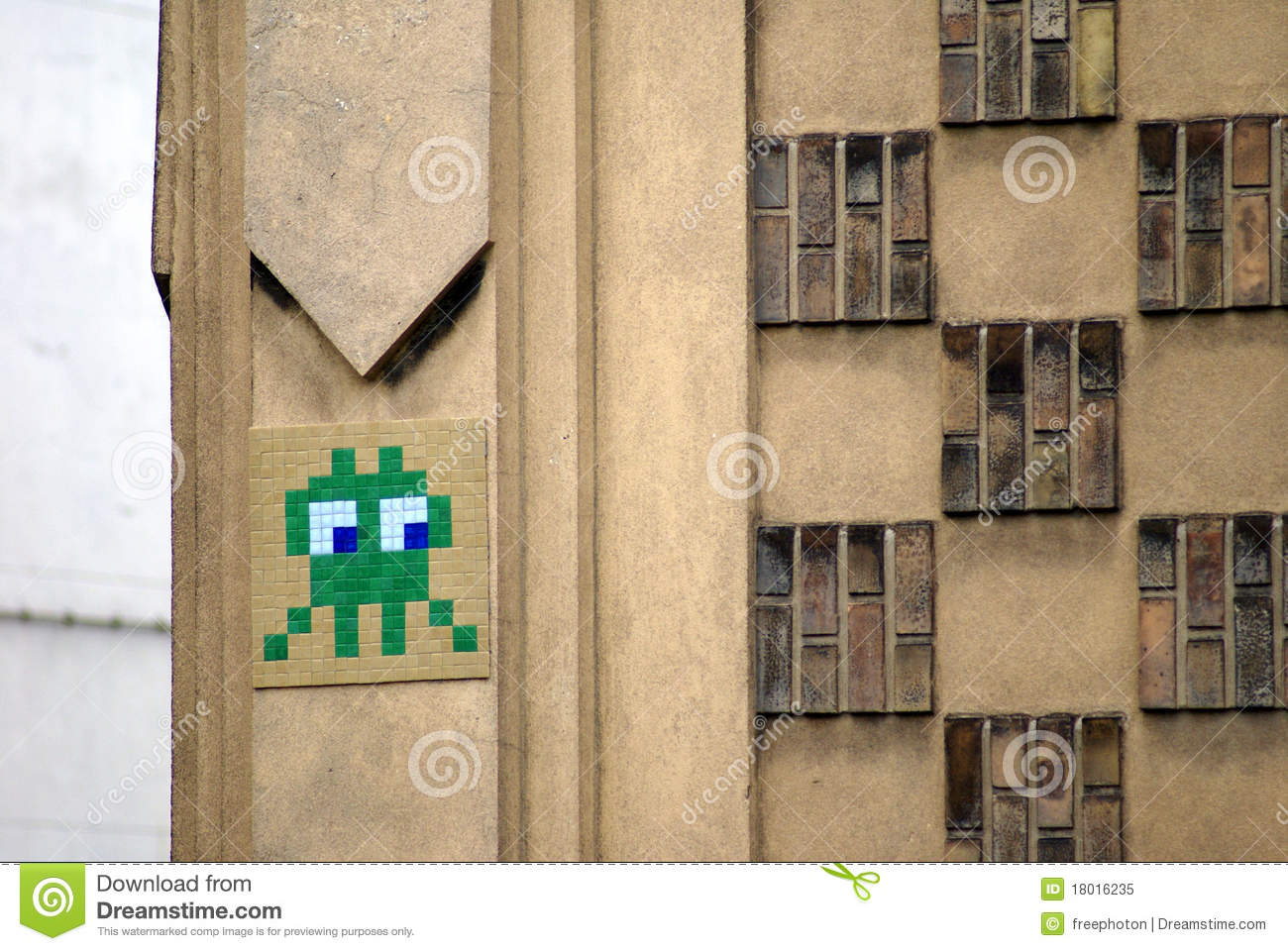 Side Glance Of A Curious Space Invader Mosaic Editorial Image ...